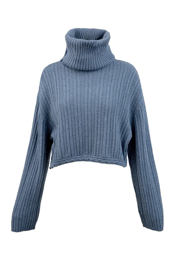Donna Blue Knitted Turtleneck