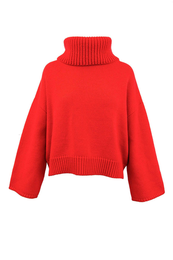 Bria Red Cowl Neck Sweater