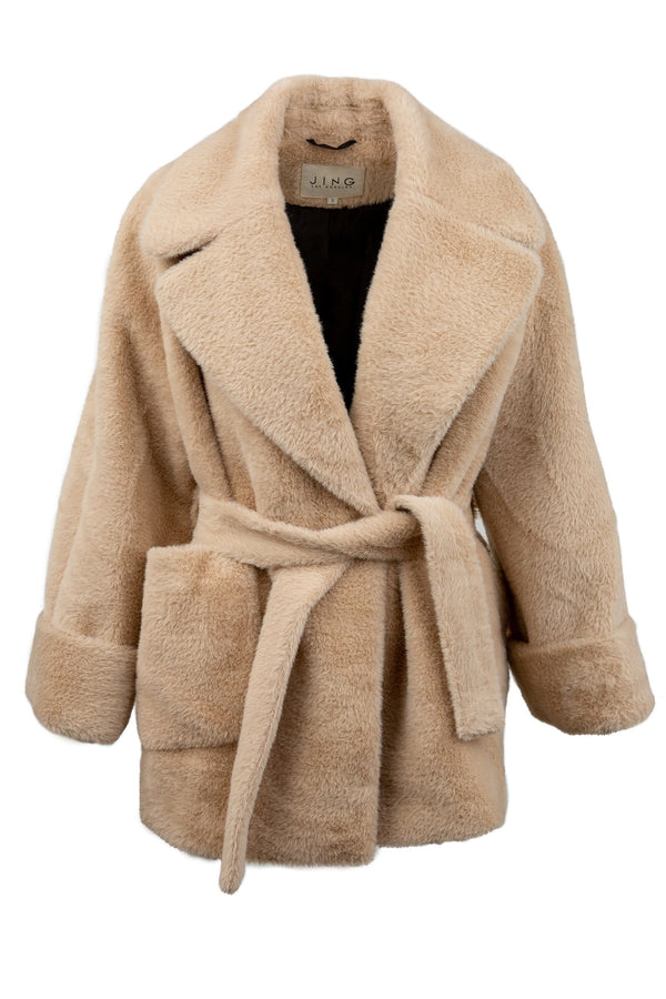 Softy Beige Plush Wrap Coat