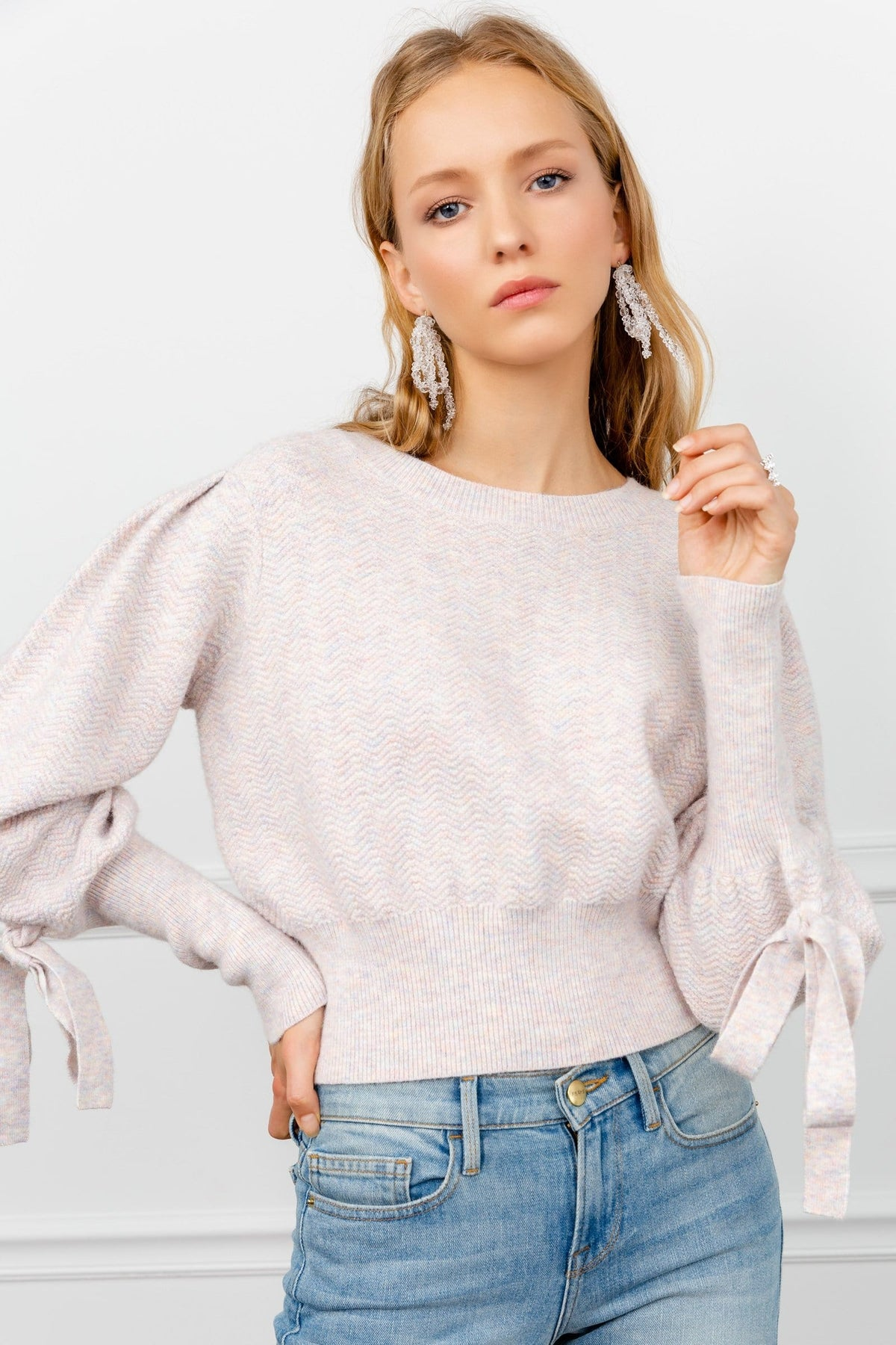 Boxer Pink Bowed Sweater