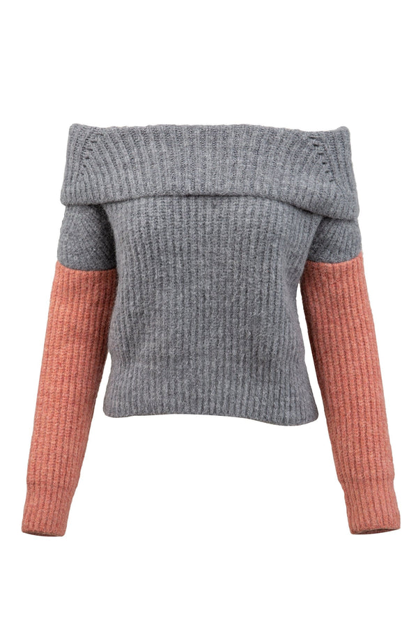 Jenny Grey and Pink Off the Shoulder Sweater