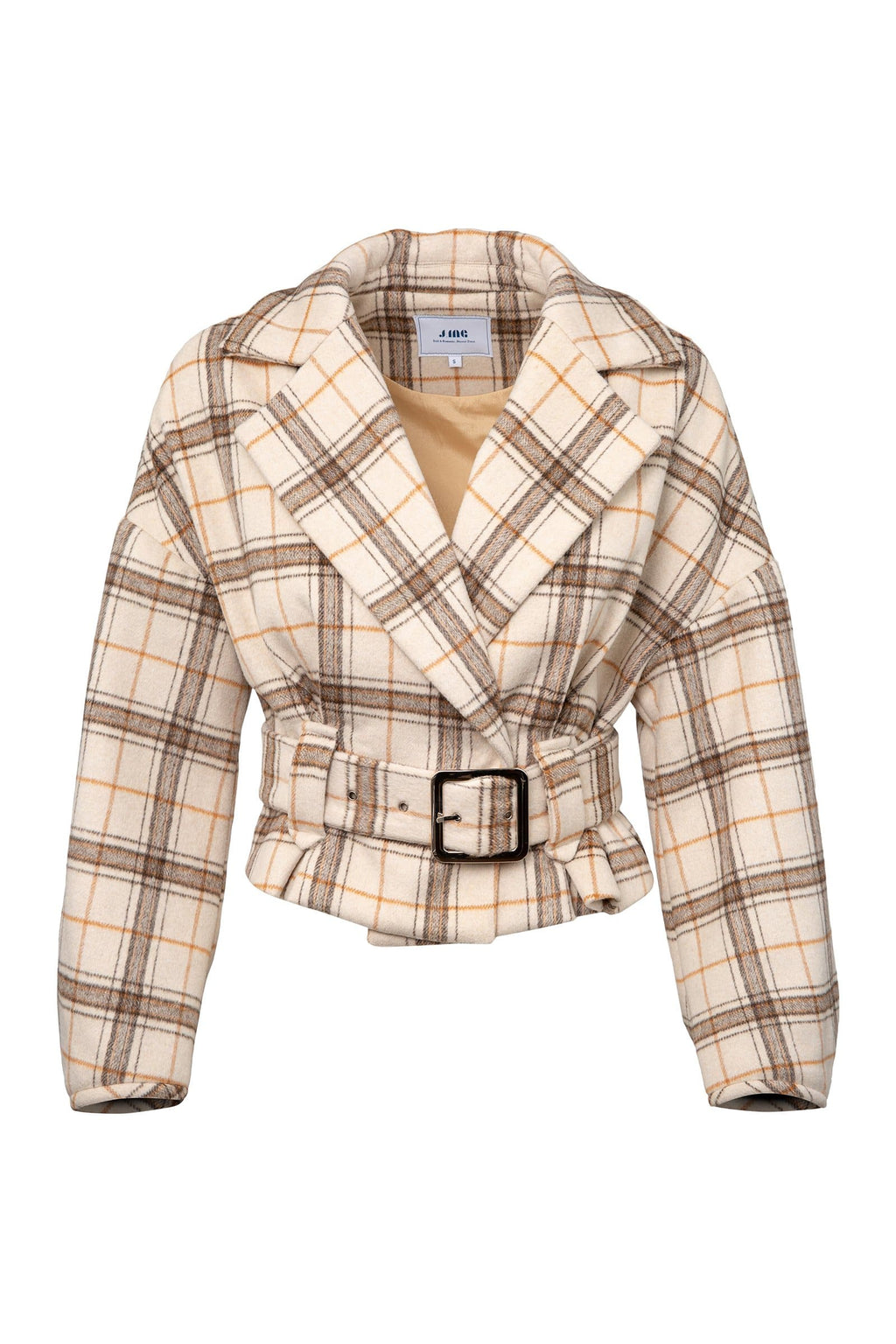 Good or Plaid Beige Belted Coat by J.ING