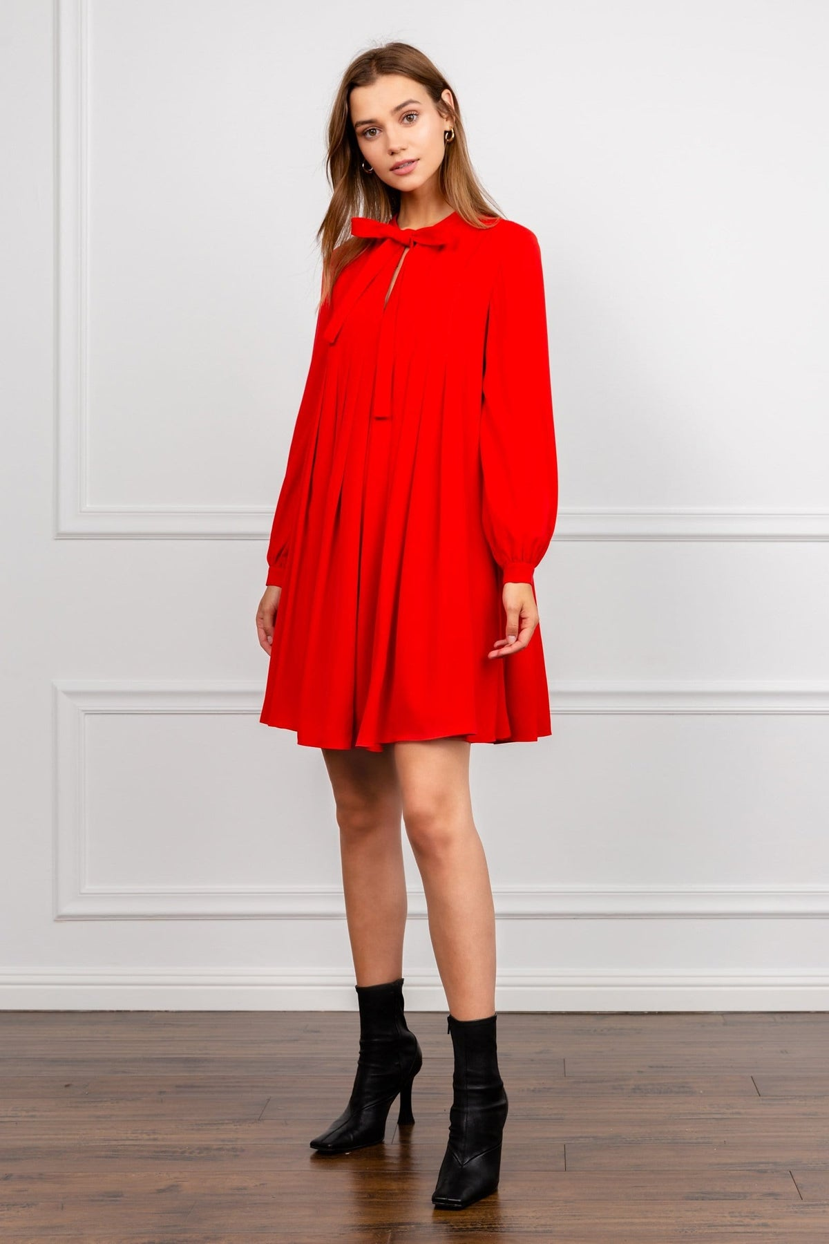 Red Long Sleeve Knit Collar Tent Dress | J.ING women's apparel