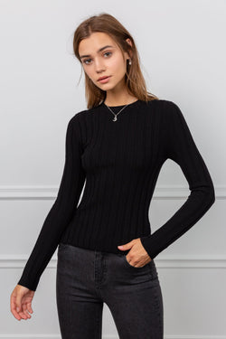 Black Crew Neck Long Sleeve Top | J.ING Women's Apparel