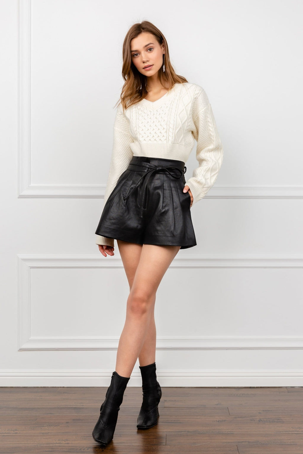 Soft Black Vegan Leather Shorts | J.ING Women's Shorts