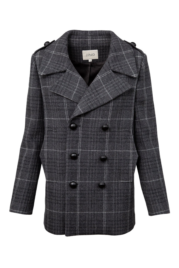 Harry Grey Plaid Pea Coat
