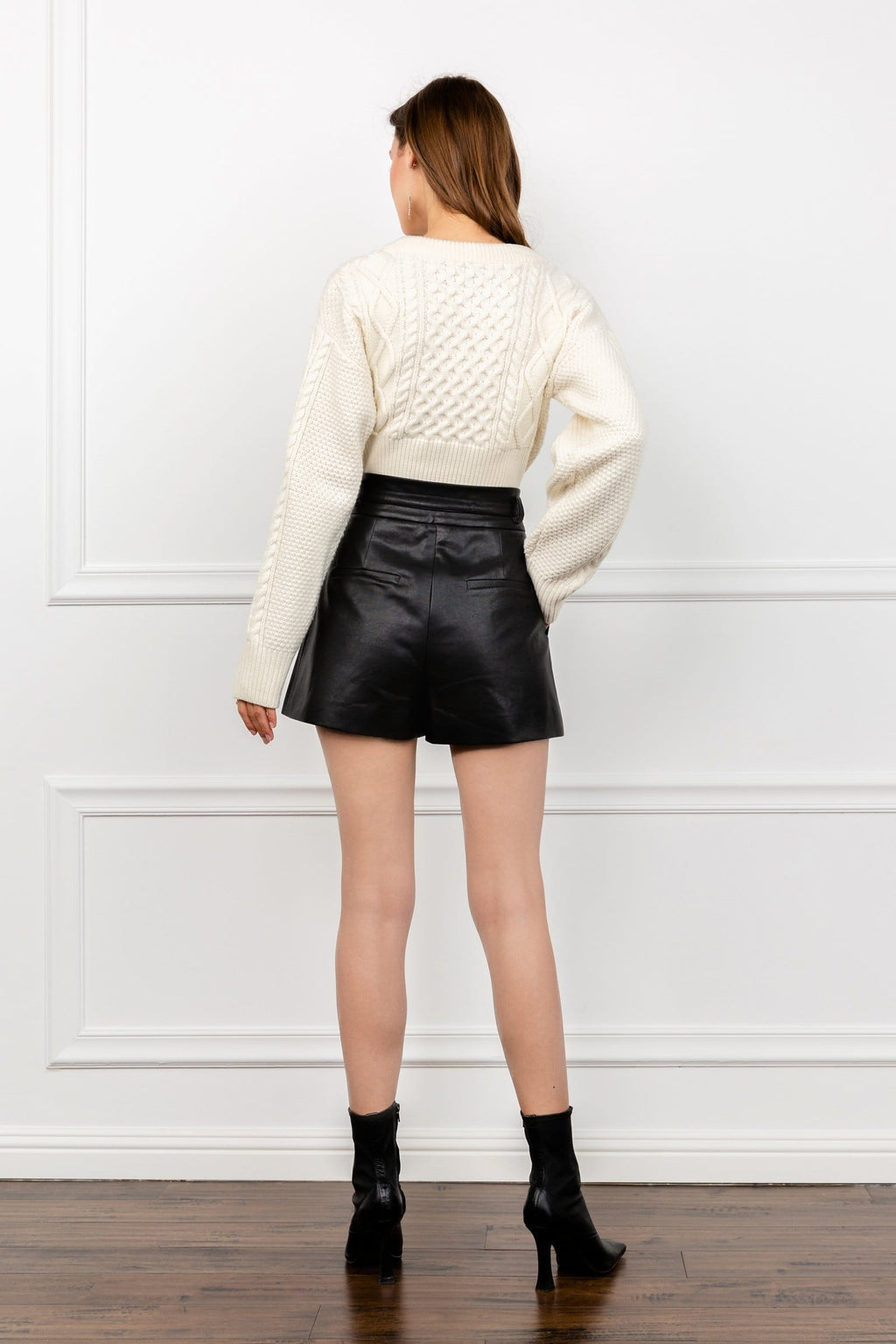 Lucy Black Leather Parachute Shorts