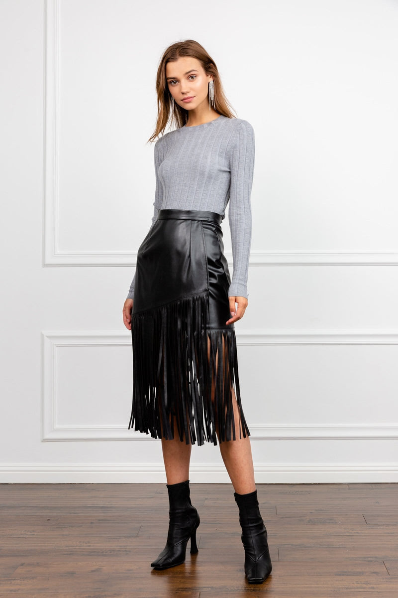 Black Leather Midi Dress with Long Fringe | J.ING Women's Skirts