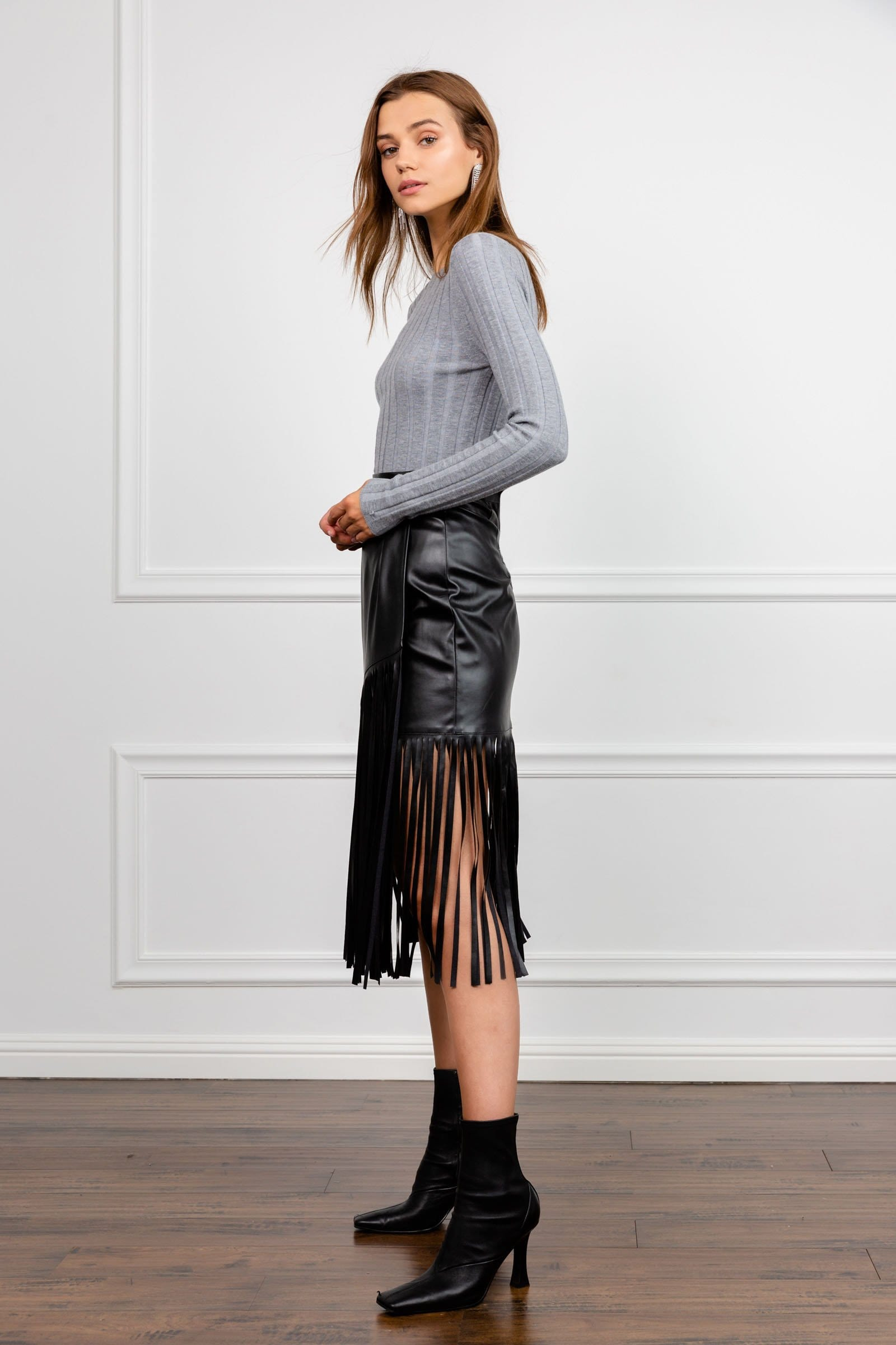 Black Belted Midi Pencil Dress with Black Fringes Clothing Women's ...