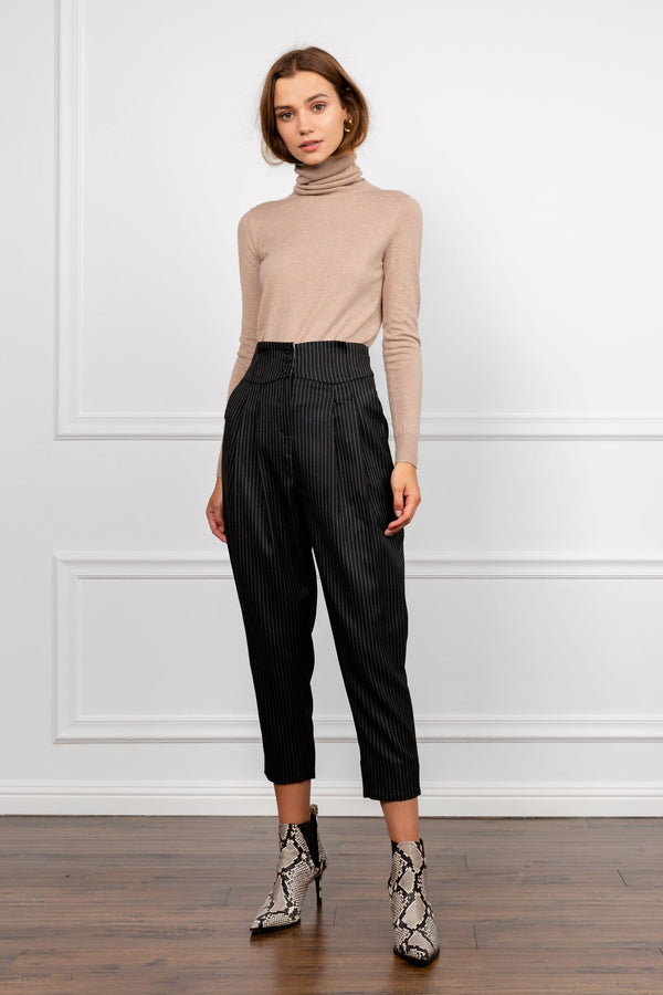 Black Pinstriped High Waist Cropped Leg Trousers | J.ING Women's Pants