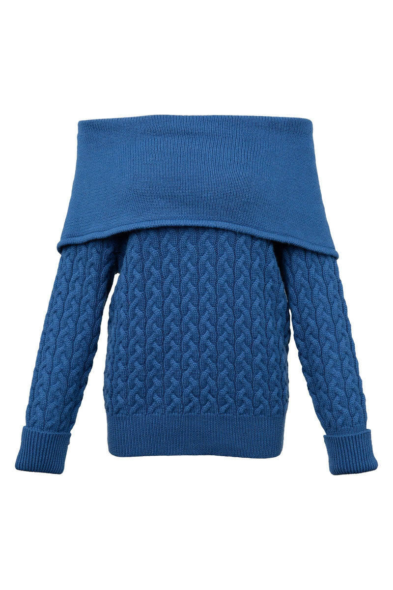 Fenwei Foldover Blue Sweater