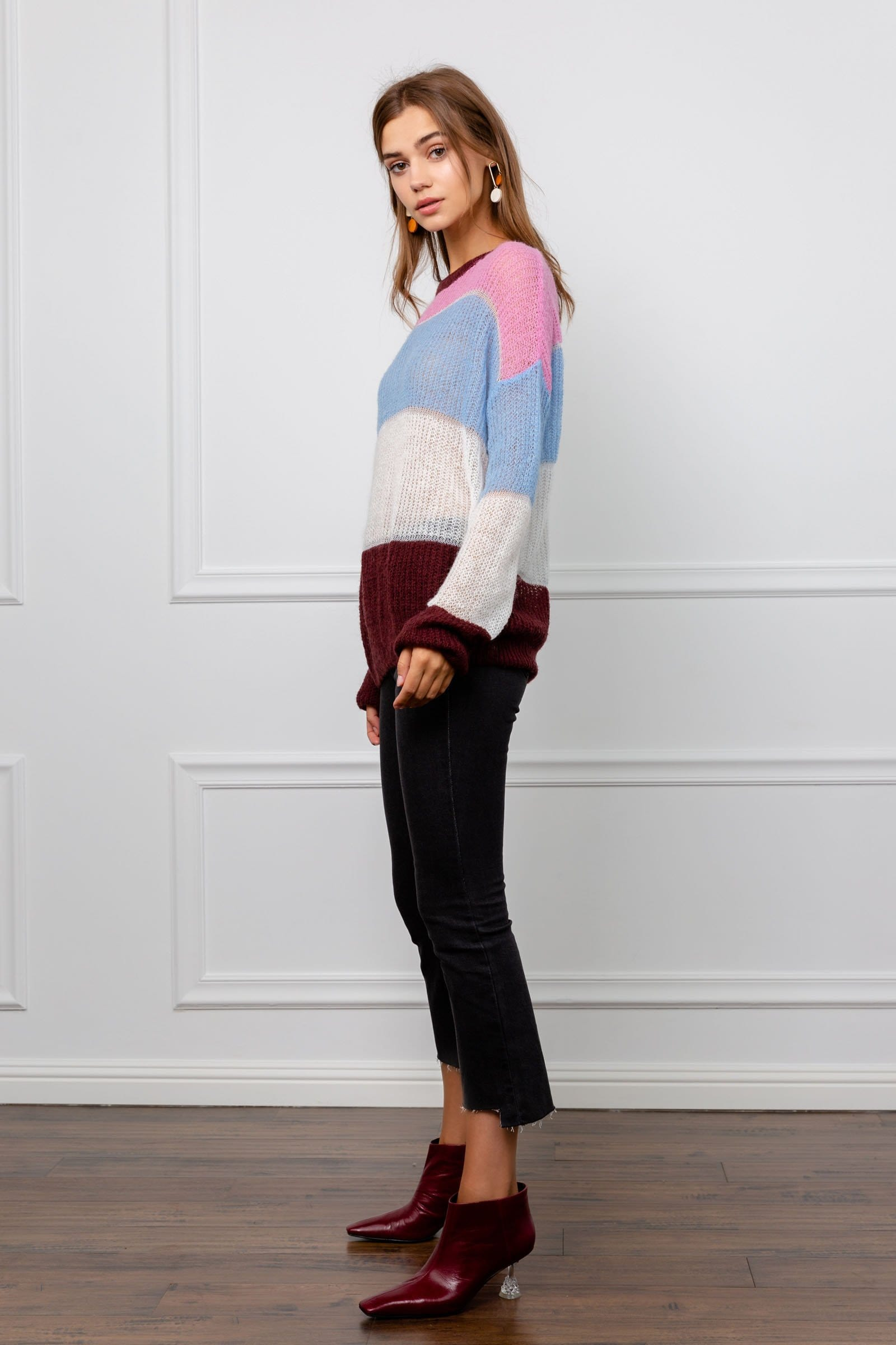 Leslie Color Panel Slouch Sweater