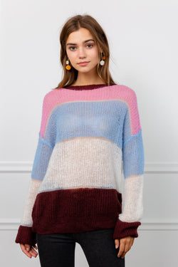 Fuzzy Pink & Blue Color Block Panel Sweater | J.ING Women's Knitwear