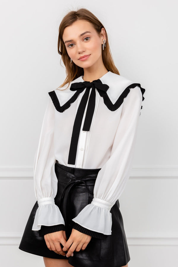 French Inspired Blouse with Cape Collar and Tied Bow by J.ING Women's Tops