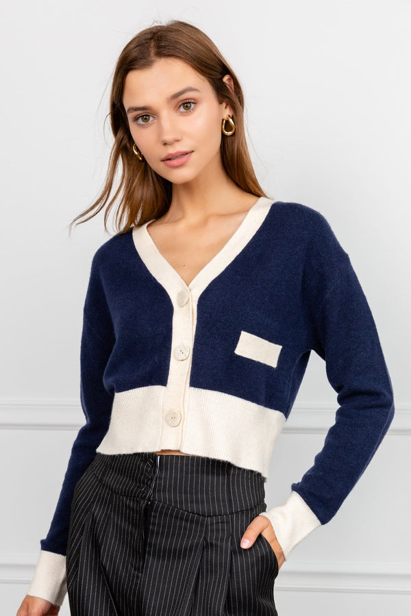 Navy Blue Fitted Cropped Cardigan with White Trim Details | J.ING women's knitwear