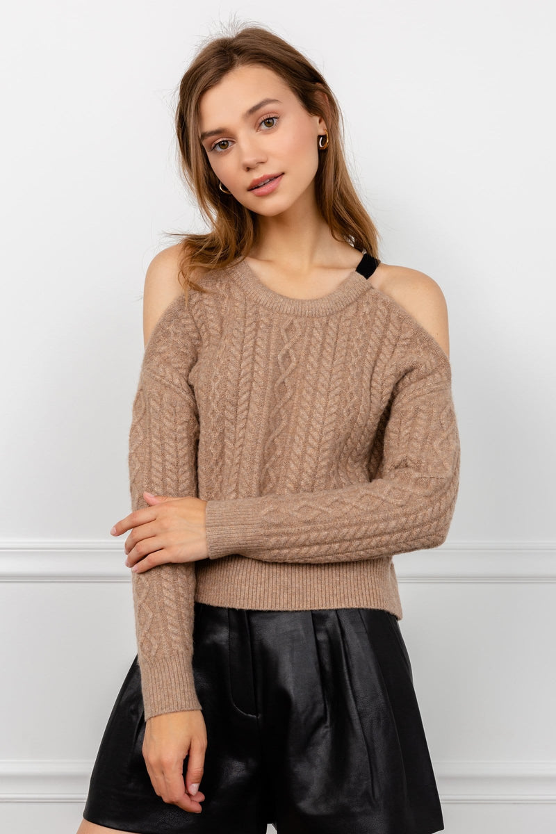 Brown Cold Shoulder Knit Sweater | J.ING Women's Knitwear