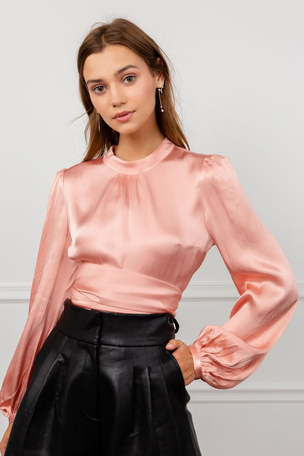 Blushing Satin Long Sleeve Pink Silky Shirt by J.ING women's clothing