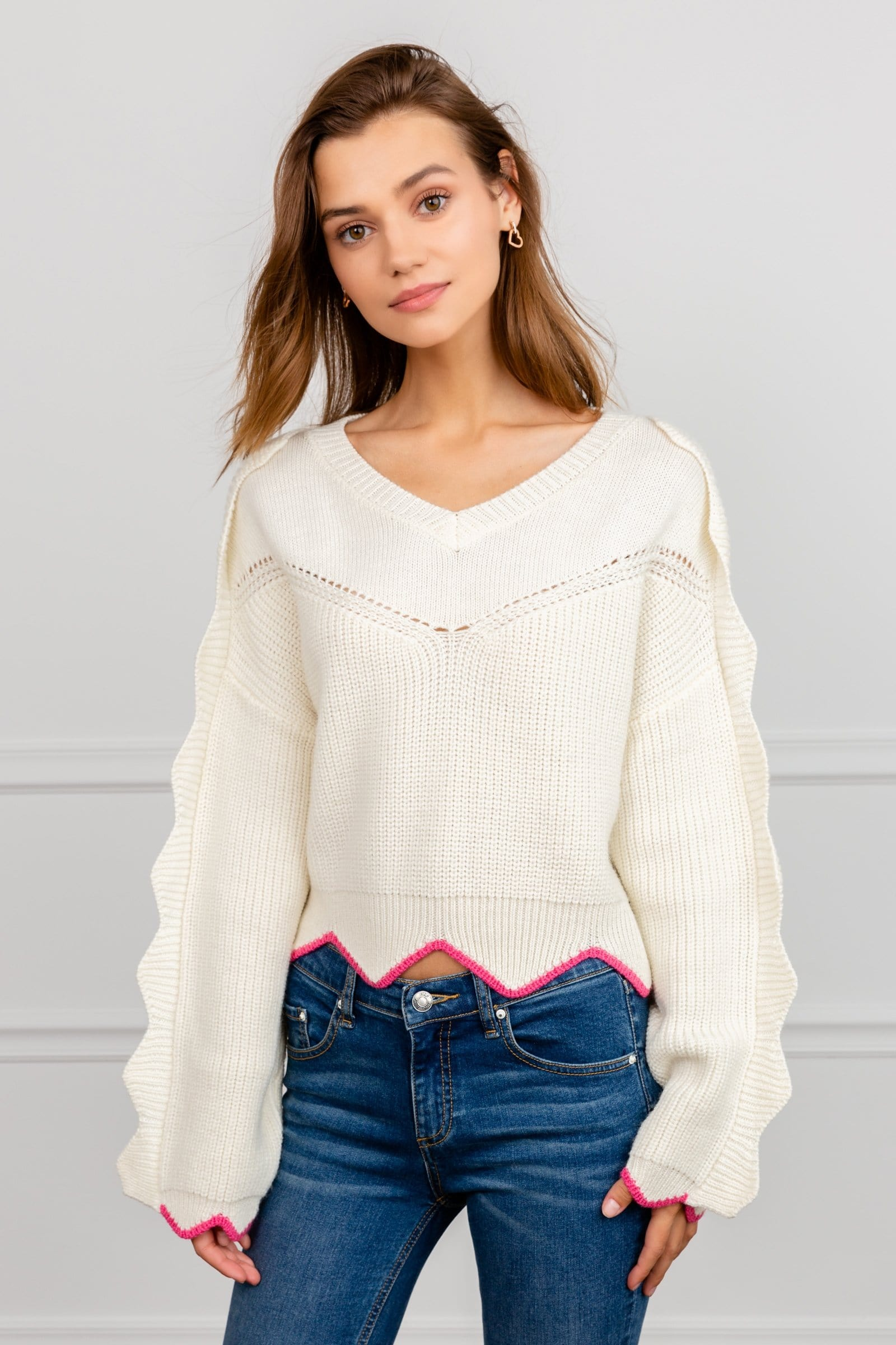 White V-Neck Rib Knit Sweater with Scalloped Pink Hemline & Sleeves | J.ING Women's Knitwear