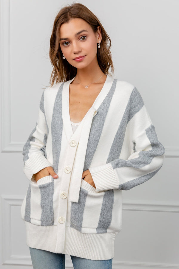 White & Grey Panel Fuzzy Cardigan | J.ING Women's Knitwear