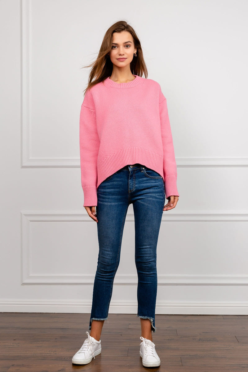 Pink oversize knit sweater by J.ING Women's Fashion