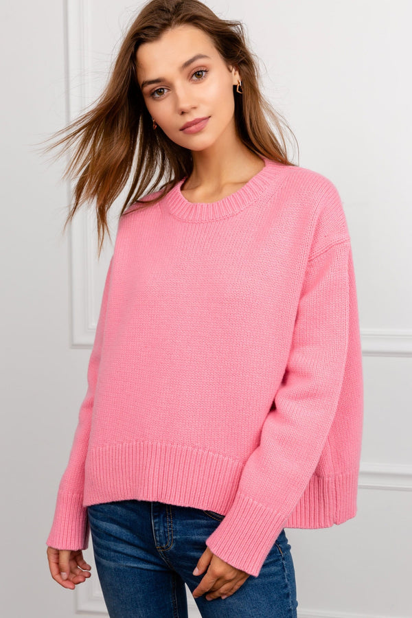 Pink Oversize Knit Sweater | J.ING Women's Knitwear