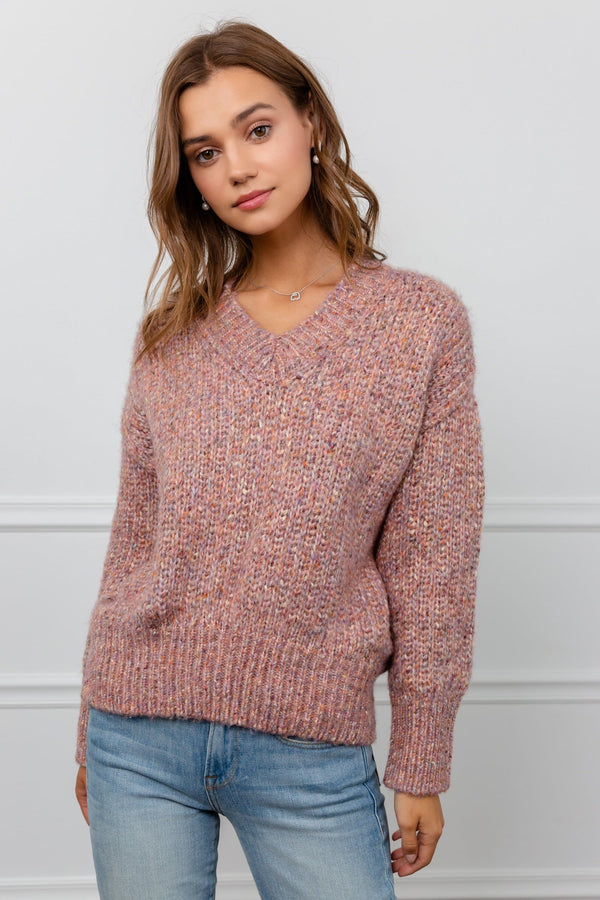 Multi-color mauve knitted sweater by J.ING women's apparel