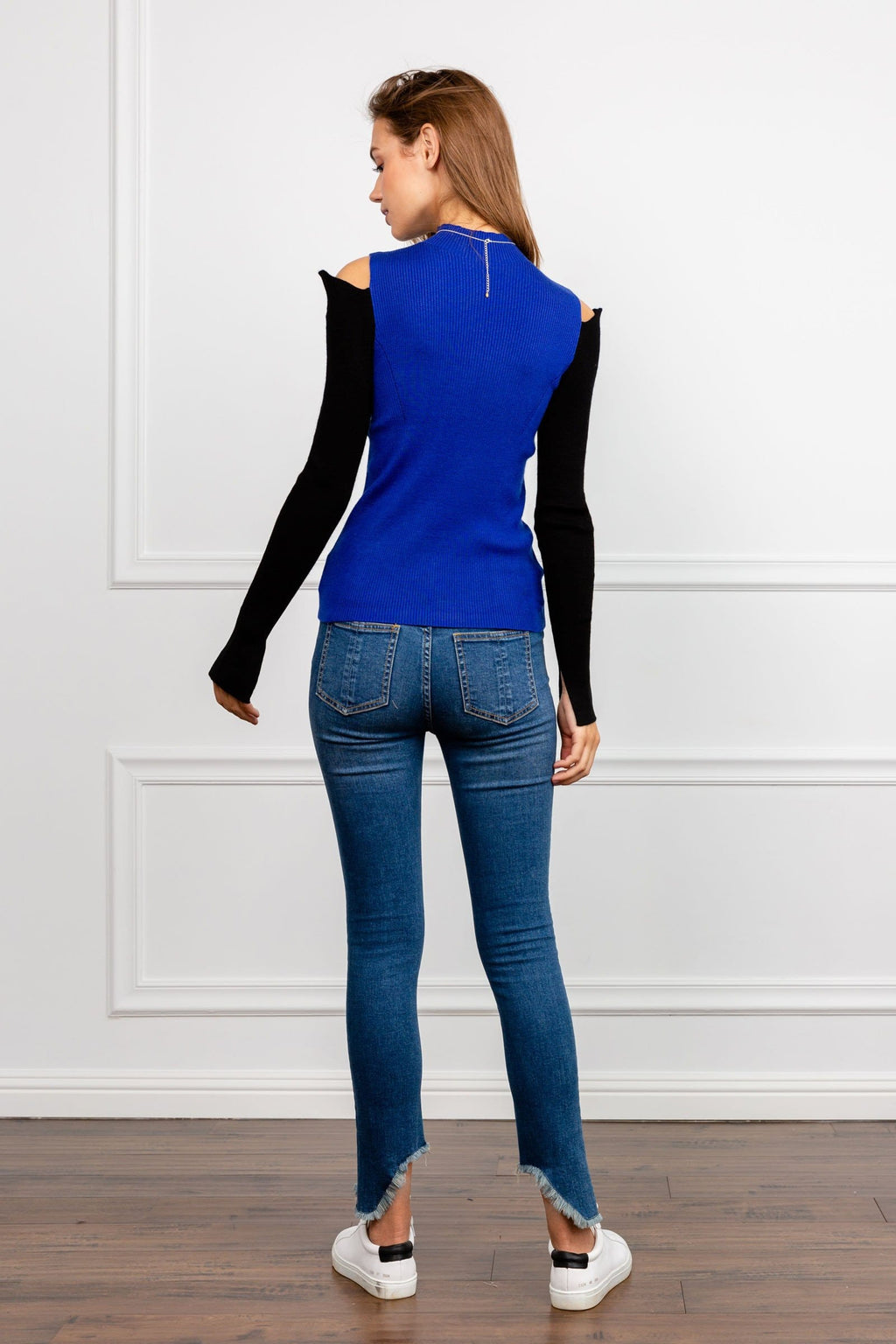 Veronia Black and Blue Cold Shoulder Sweater