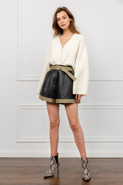 Black shorts with khaki trimming and belt | J.ING Women's Shorts