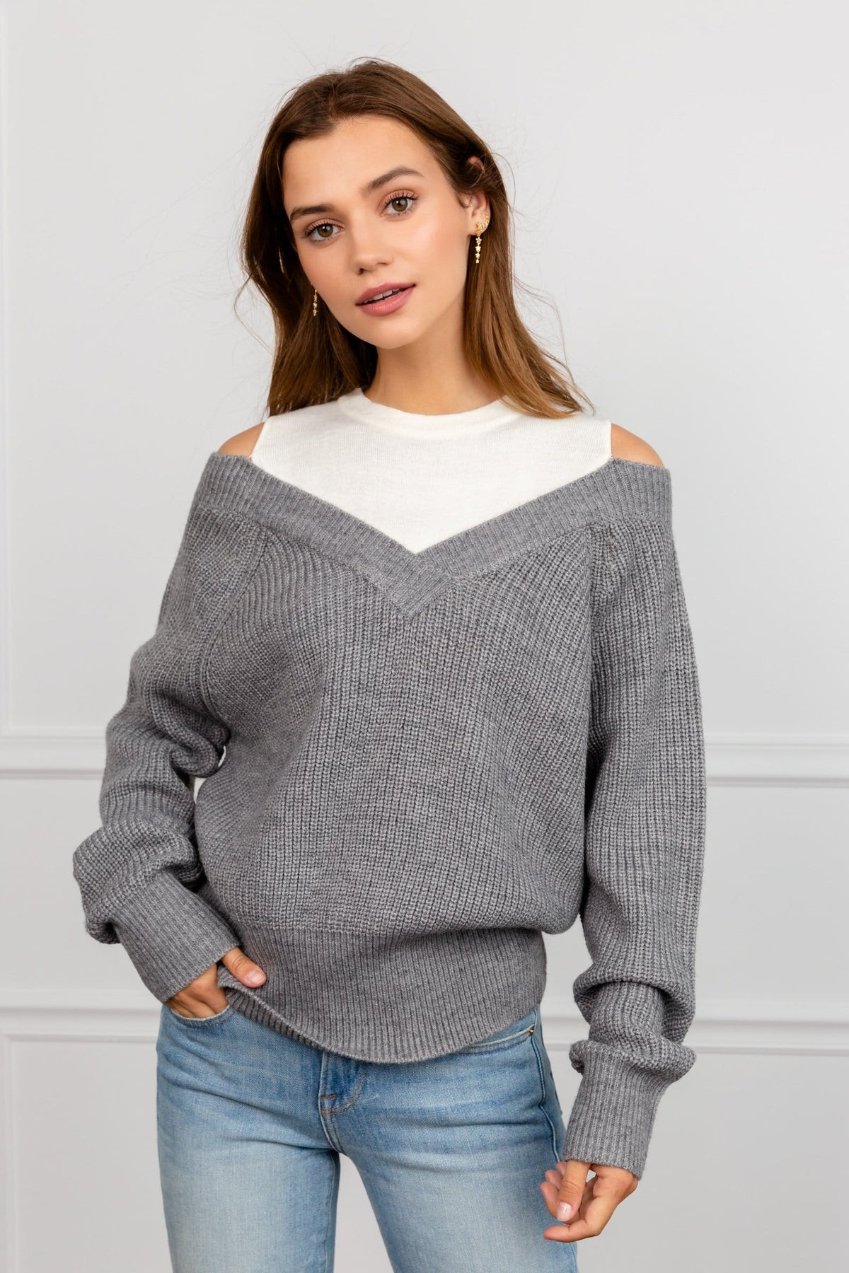 Fusion Sweater with Layered Look & Cold Shoulders in Grey | J.ING Women's Knitwear