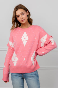 Pink Sweater with Diamond Pattern & Detachable Long Sleeves | J.ING Women's Knitwear