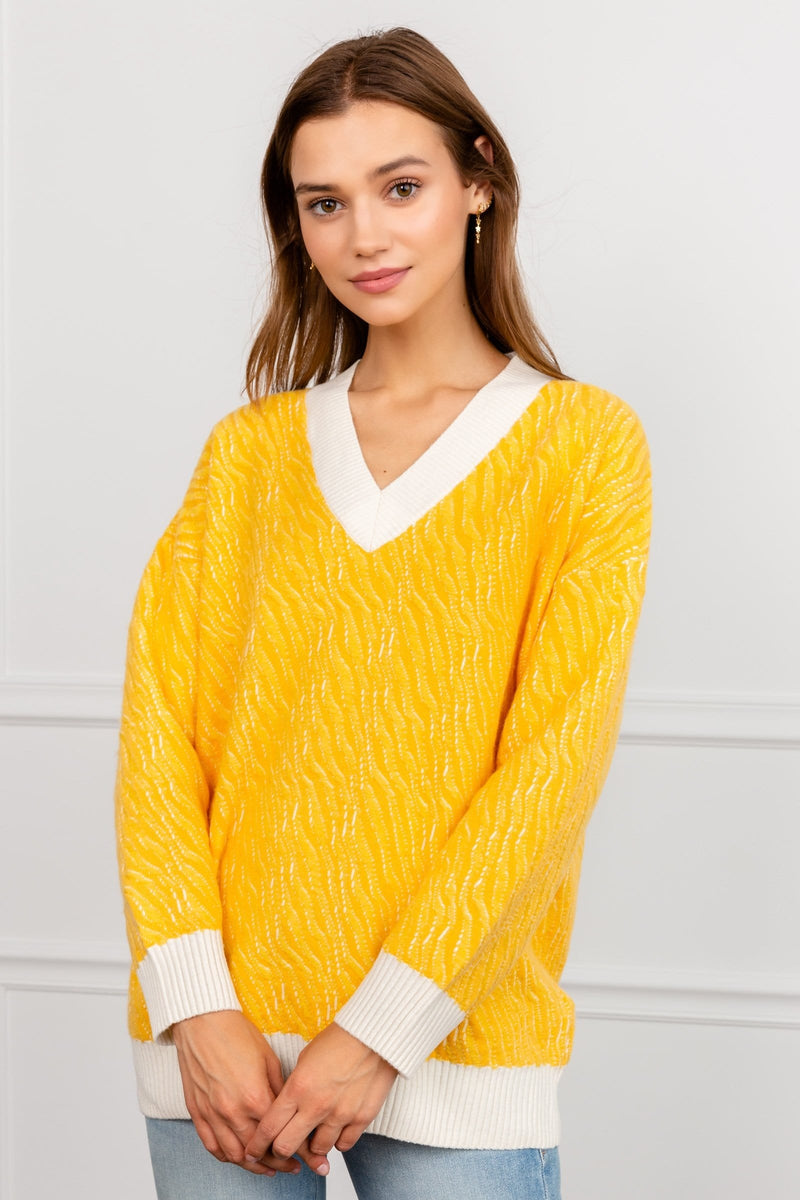 Soleila Yellow Oversize V-Neck Sweater