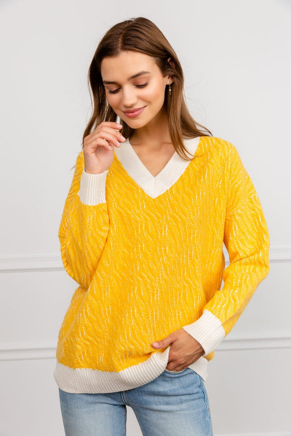 Yellow Knitted V-neck sweater by J.ING Women's clothing
