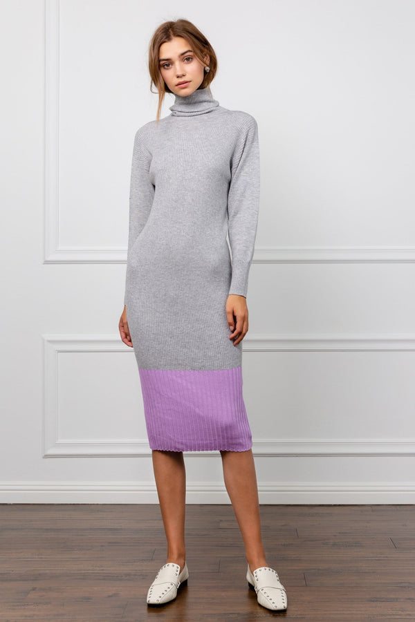 Regina Grey and Pink Knit Midi Dress