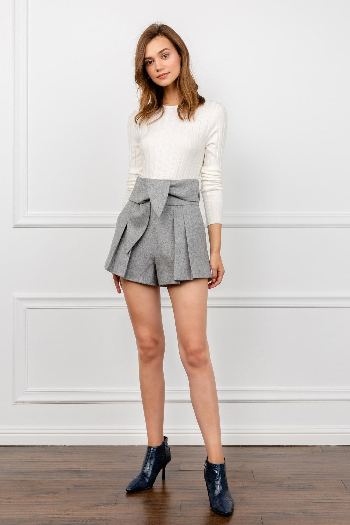 Grey Pleated Shorts with Tied Waist | J.ING Women's Shorts