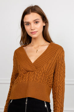 Brown V-Neck Rib-Knit Sweater | J.ING Women's Apparel