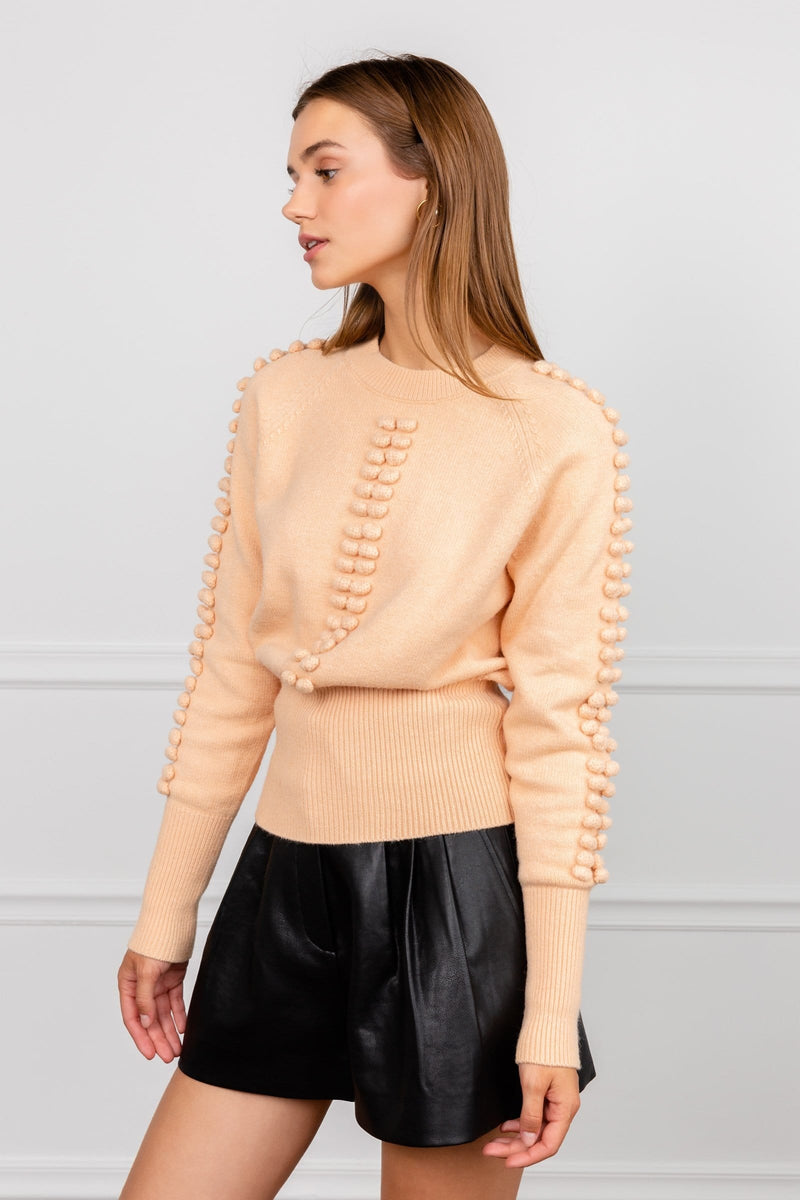 Scaled Back Peach Knit Long Sleeve