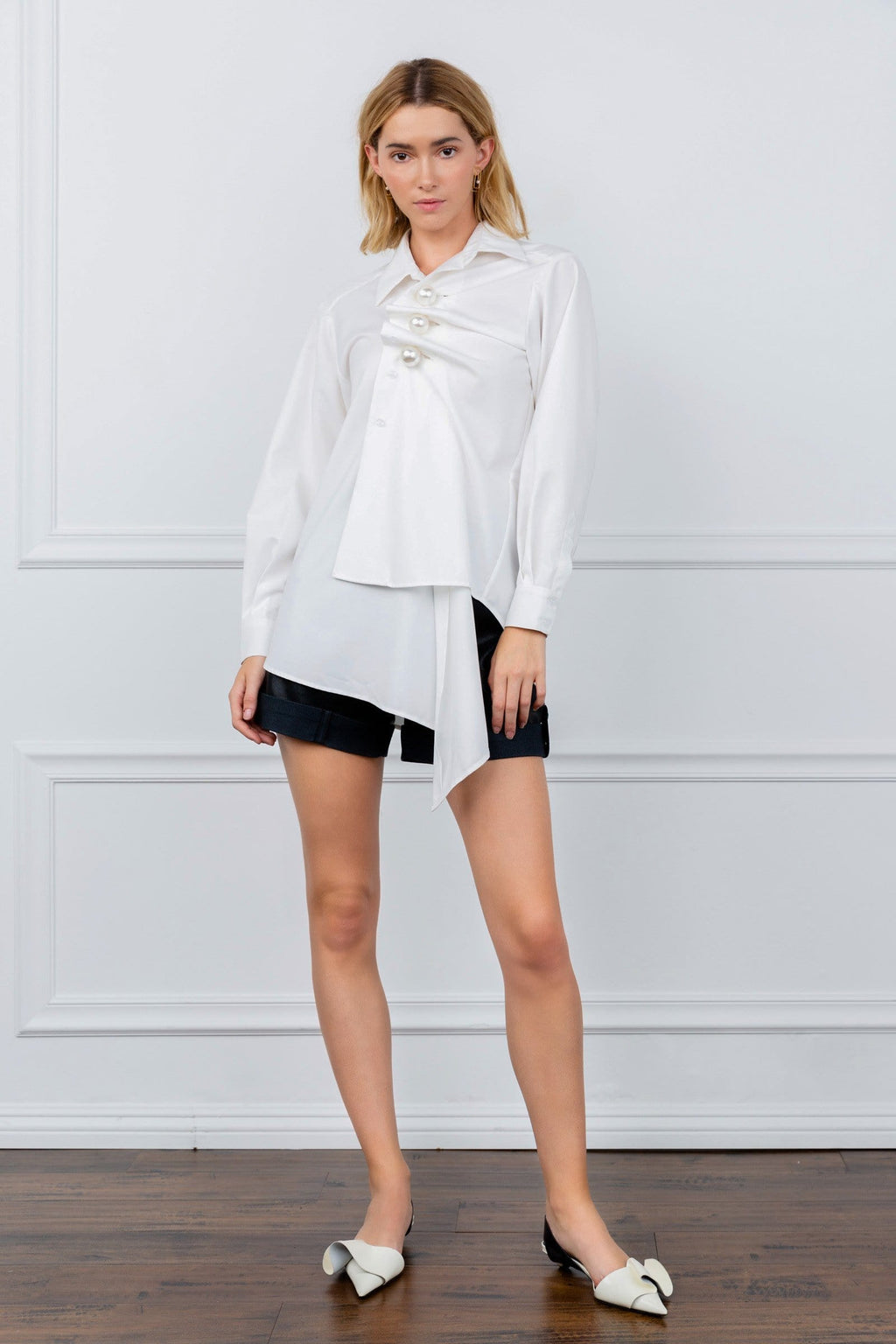 Perlana White Asymmetrical Tunic