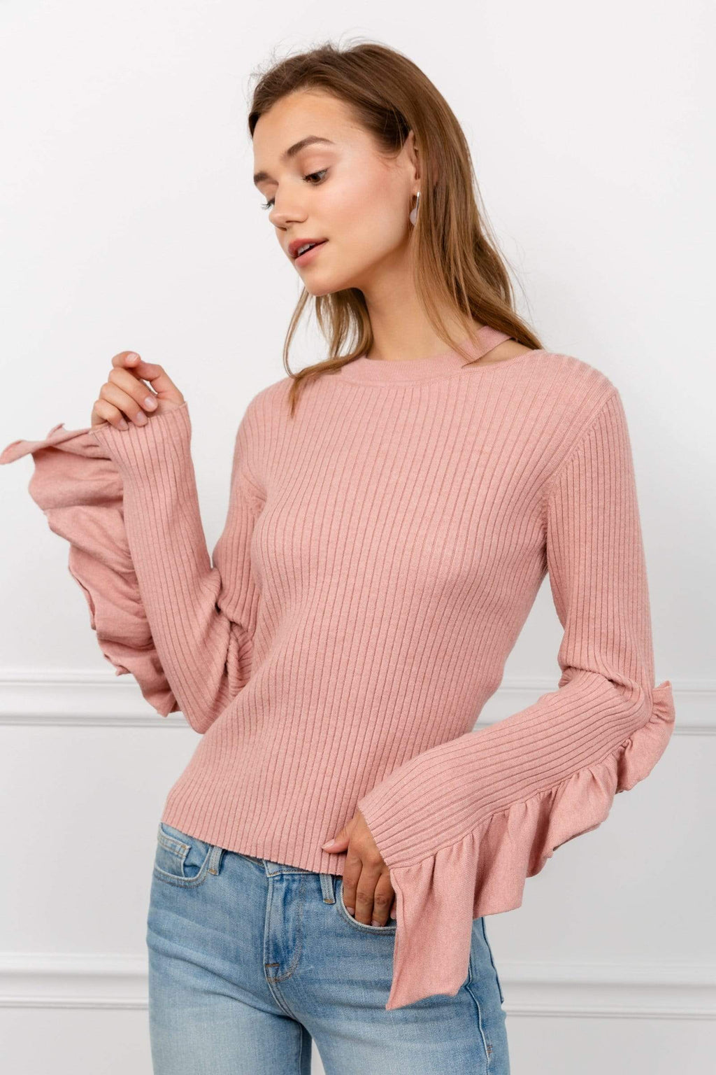 Blush Ribknit Ruffle Sleeve Sweater