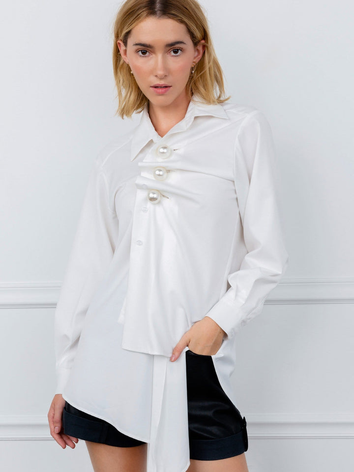 White Asymmetrical Long  Sleeve Blouse | J.ING Women's Tops