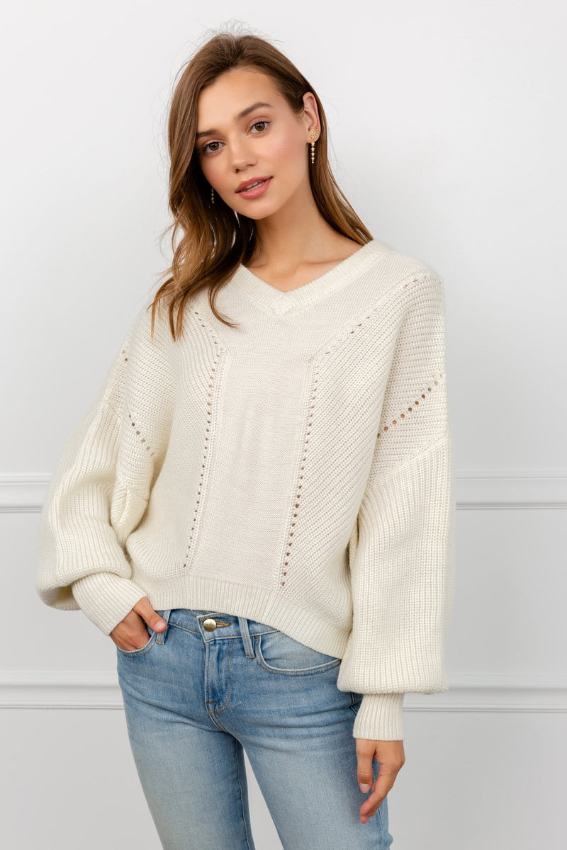 White thick rib-knit sweater | J.ING Women's Knitwear