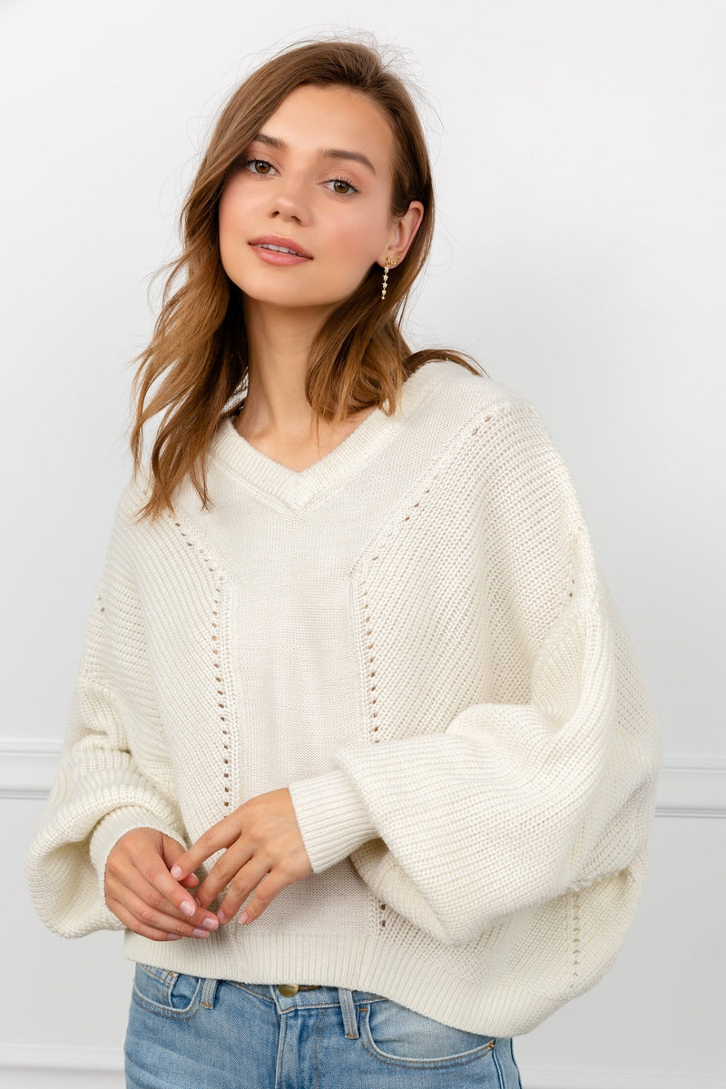 Collie White Cable Knit Sweater