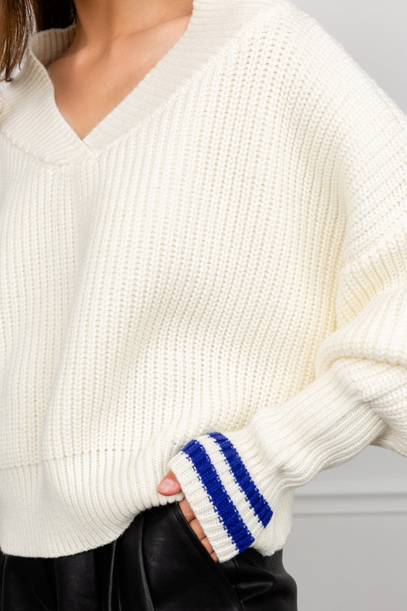 Varsity White Ribknit Sweater