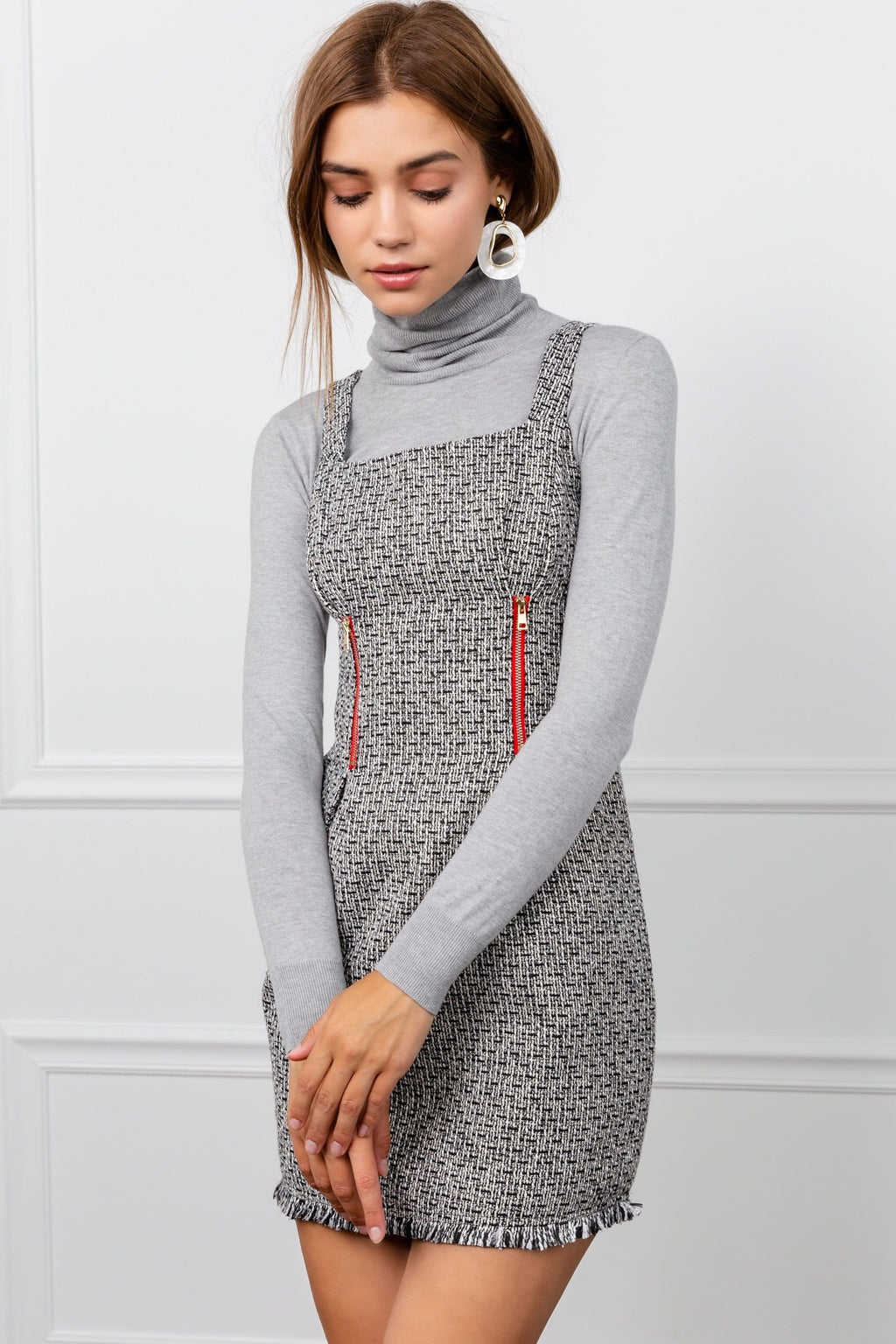 Reya Grey Square Neck Mini Dress