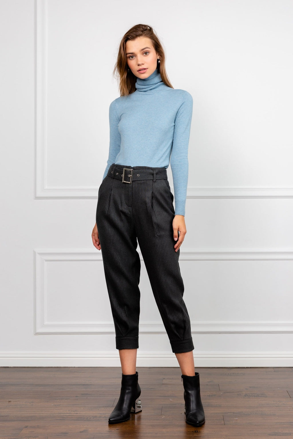 Dark Grey Piunstriped Belted Ankle Cropped Pants | J.ING Women's Workwear