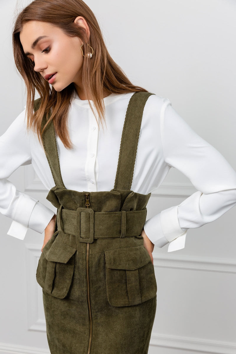 Moss Belted Underbust Pinafore
