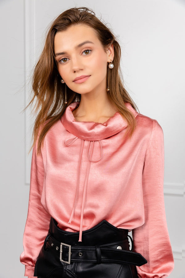 Silky satin peach colored cowl neck blouse by j.ing women's apparel