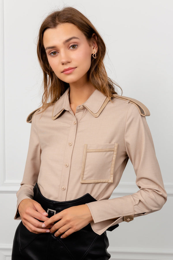 Tan Western Long Sleeve Blouse | J.ING Women's Apparel