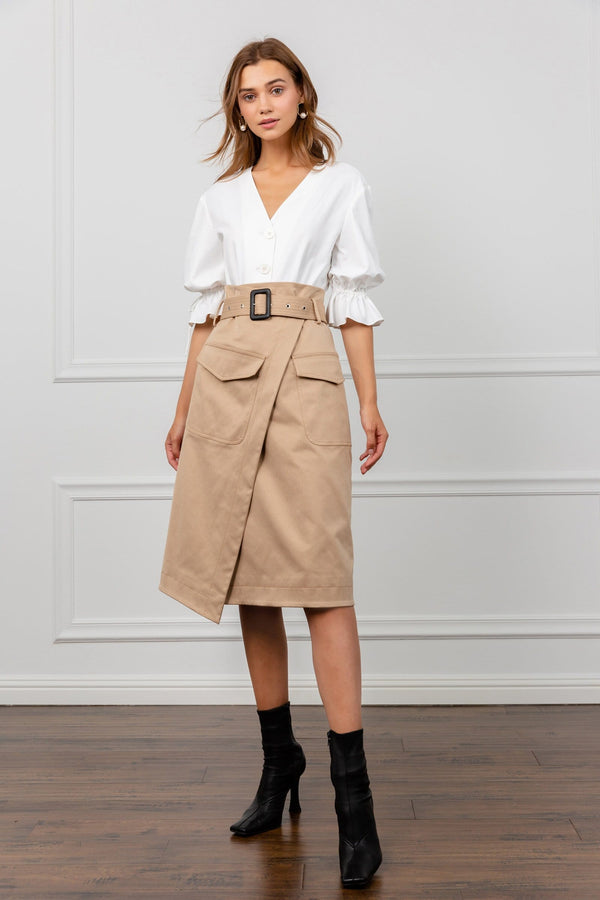 Morgan Tan Midi Skirt