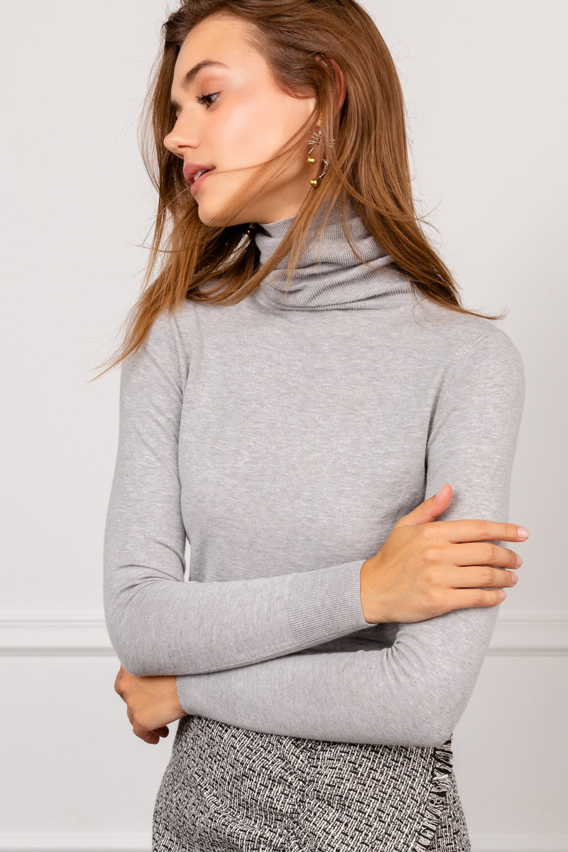 Grey Long Sleeve Turtleneck Top | J.ING Women's Knitwear