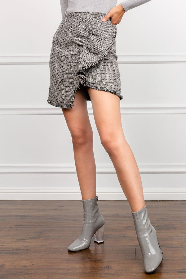 Grey Matte Mini Wrap Skirt